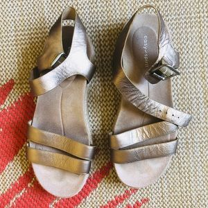 Easy Spirit Gold Sandals with Jute-Wrapped Bottom